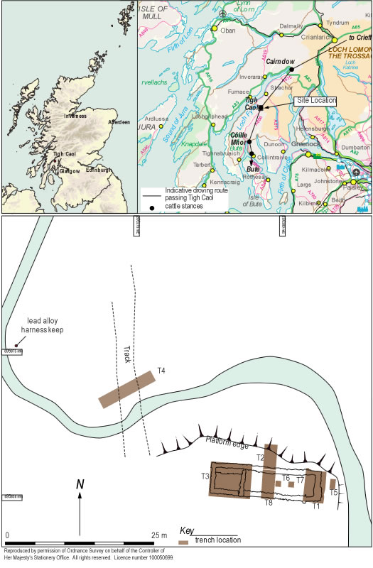 Site location and showing the indicative droving route passing Tigh Caol.